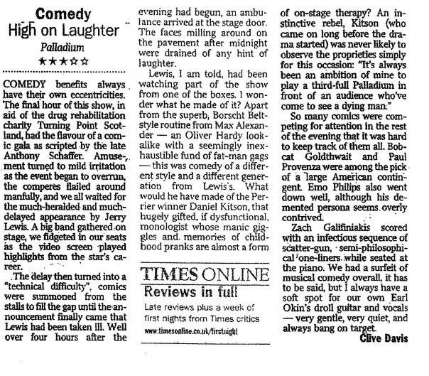 The London theatre critic was there that fateful night at the London Palladium. I think he captured the absurd drama.