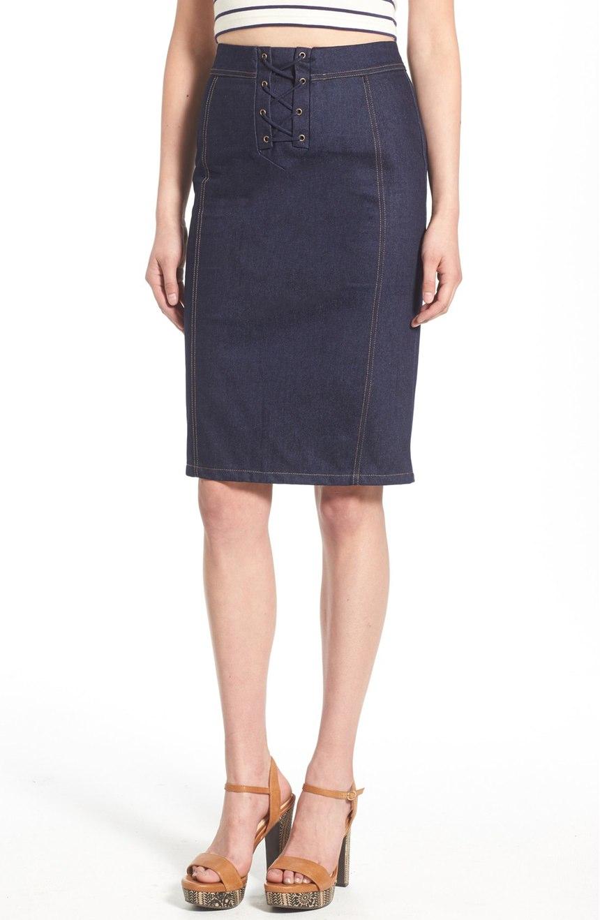J.O.A. Lace-Up Denim Skirt