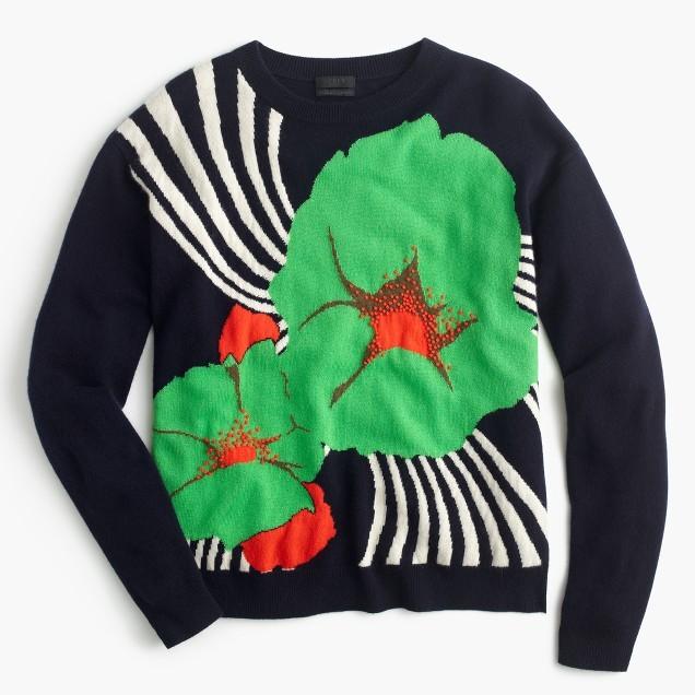 JCREW Ratti striped floral sweater