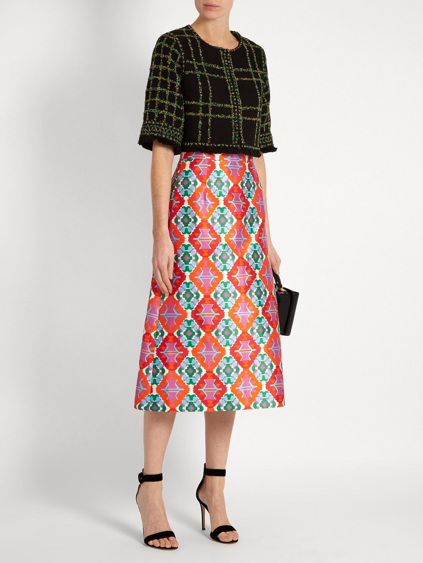 $518 - Geometric-print sateen midi skirt