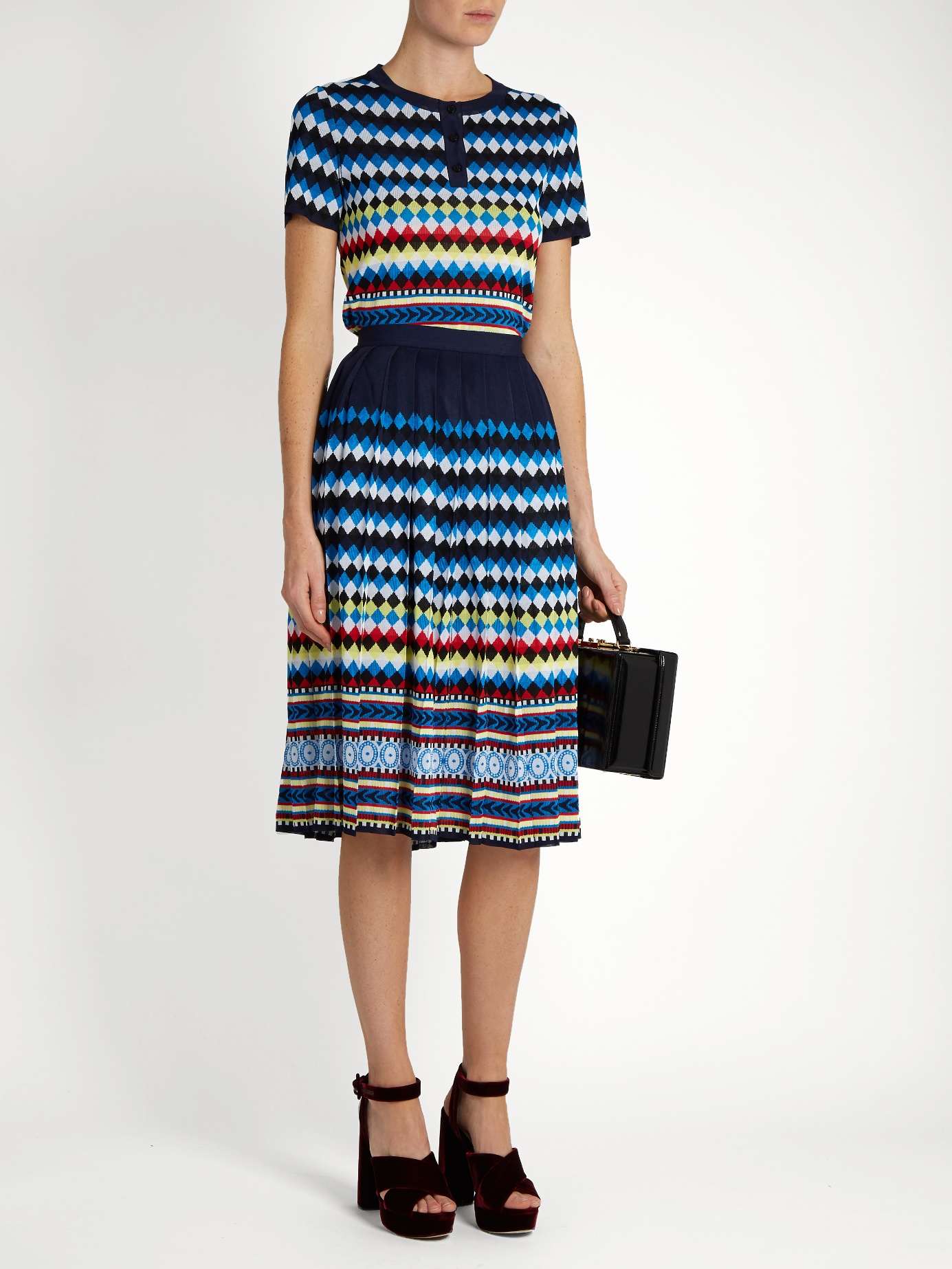 $562 - Aura Eirene-jacquard pleated skirt