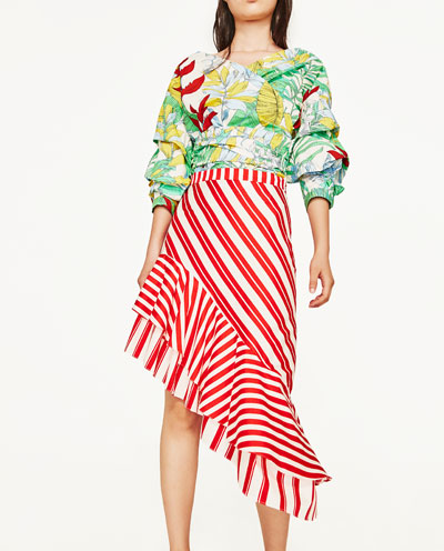 $69.90 - Zara Striped Skirt with Frill