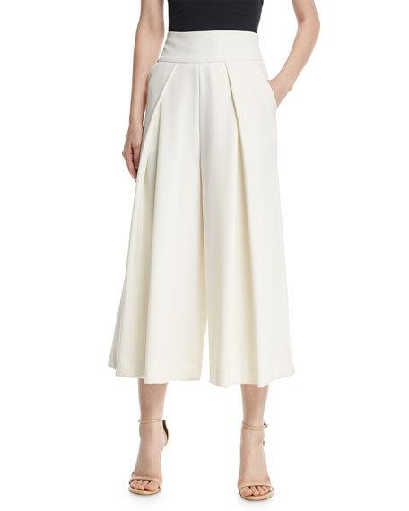 $375 - Italian Cady Pleated Wide-Leg Culottes