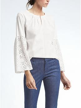 $78 Easy Care Eyelet Flare-Sleeve Shirt