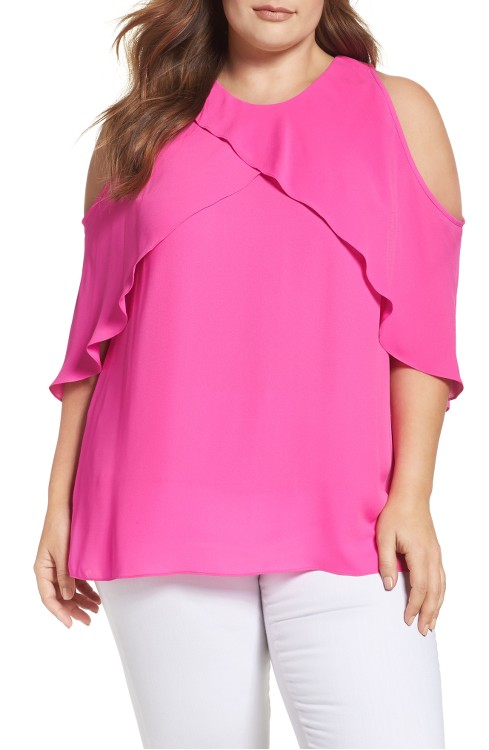 $89 Cold Shoulder Ruffled Blouse