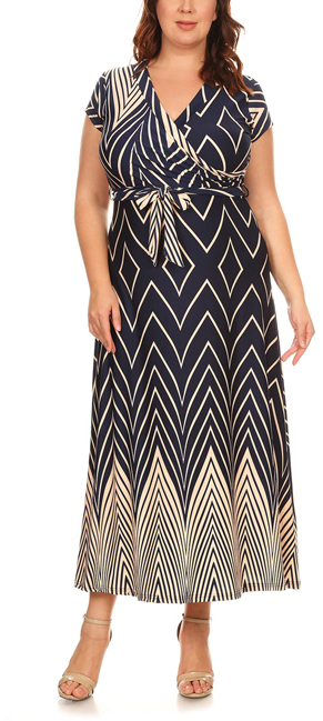 $16.99 NAVY & BEIGE GEOMETRIC TIE-FRONT MAXI DRESS - PLUS