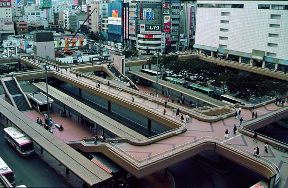 Todays Tokyo Bus Station Skybridge.