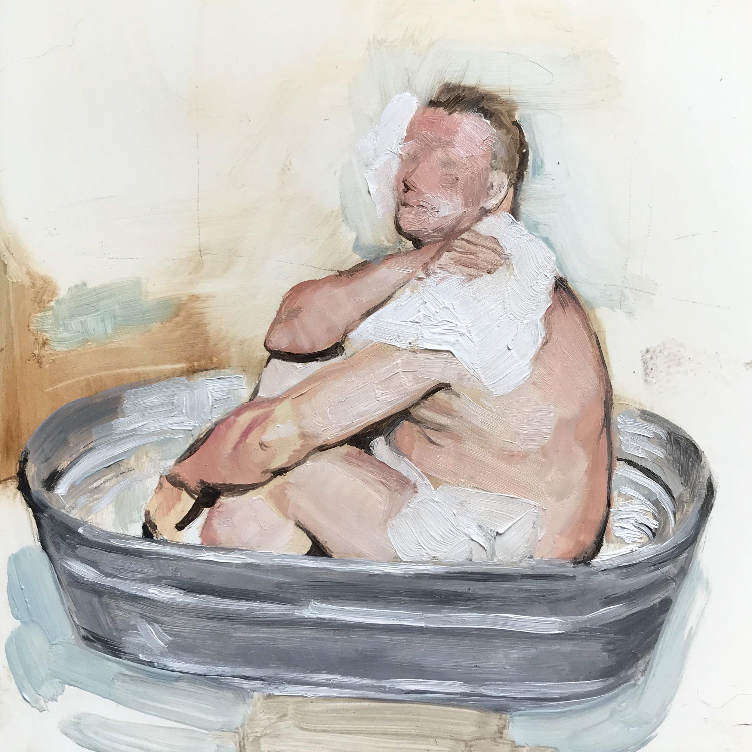 """""""The Bath,"""" 6""""x6"""" oil on wood 2019"""
