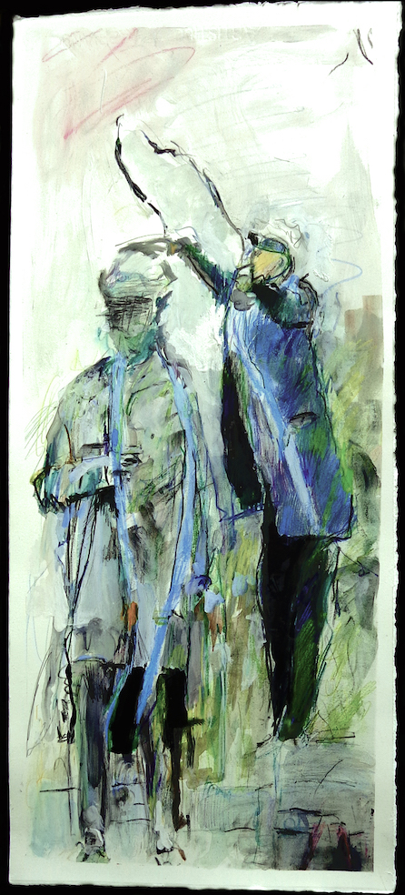 """Lee Statue Removal from Dallas 2   30 1/2"""" x 7"""" Ink, gesso, goauche, pencil on paper, ©2018  on display in Spring 2019 at the Berrie Arts Center at Ramapo College, Ramapo, NJ"""