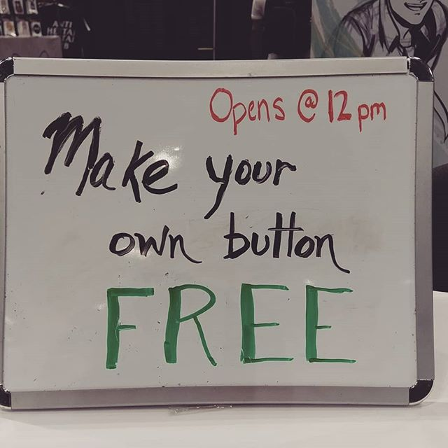 Make your own button for FREE! We will start at 12pm and it will go on while supplies last. (It will go fast) Booth 725 . . #animeexpo #ax2019 #freestuff