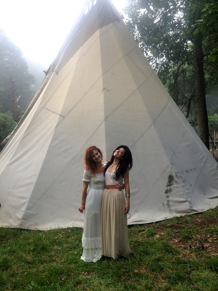 Alexandra and her soul sister Natalia Leite at her first deer medicine ceremony