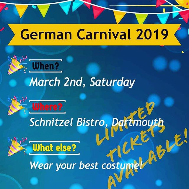 ‼️• Wann? / When? • 2 Maerz 2019 March 2nd, 2019 • Einlass? / What time? • 18:00 Uhr 6:00pm • Eintrittskarten: / Tickets: • $30 fuer Mitglieder / $30 each for members $35 wenn Sie noch kein Mitglied sind / $35 each for non-members 🤩 1 Ticket = 1 Entry + 1 Finger Food🥨🍖 + 1 Glass of Beer 🤩 •Karten nur im Vorverkauf unter Joerg: 902 877 5182 Please contact George (Joerg) for ticket inquiries: 902-877-5182 (no tickets via Eventbrite) • LIMITED TICKETS AVAILABLE! Call or text George NOW for ticket inquiries! •Ihre GCA Organized by German Canadian Association For more information check our last posts‼️ . . . #germancanadianassociationofnovascotia #fasching #karneval #canada #halifax #dartmouth #schnitzelbistro #novascotia #picoftheday #together #celebration #heritage #followme #photooftheday #costume #party #fun #love #unique #germany #deutschland #bier #beer #food #halifaxnoise