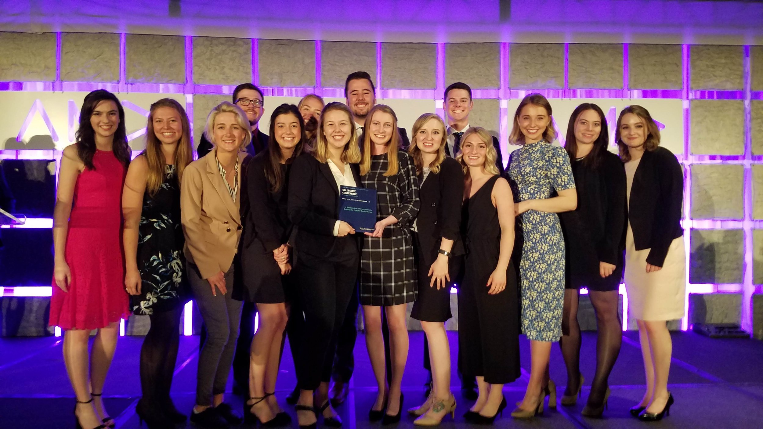 2018-2019 - Top 20 International Collegiate ChapterMarketing Strategy Competition - 1st PlaceMarketing Research Poster - 1st PlaceNational Marketing Student of the Year - Runner UpNational Sales Competition - 3rd PlaceBest Website - 3rd PlaceBest Marketing Week - Honorable MentionAMA Case Competition - Honorable MentionPitch Perfect Competition - FinalistSABRE Business Simulation - 15th Overall
