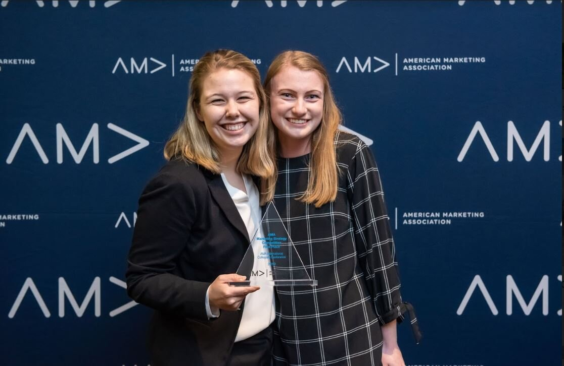 Lena Johnson and Krista Lauring place first in the marketing strategy Competition