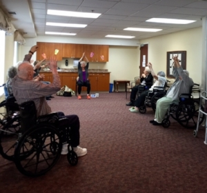 Mandy with her amazing students at church of christ assisted living