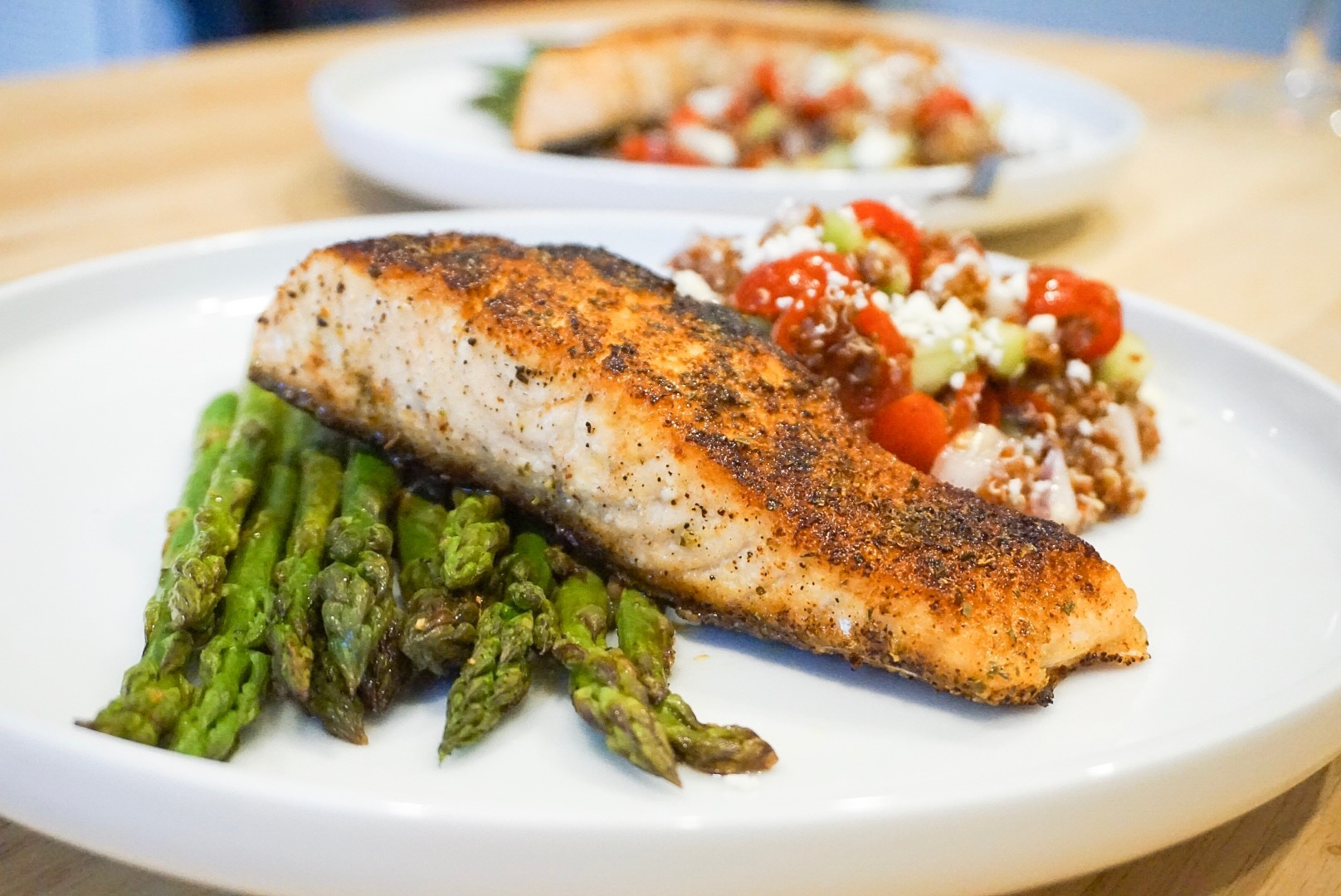 We served our quinoa salad with a seared salmon filet and roasted asparagus!
