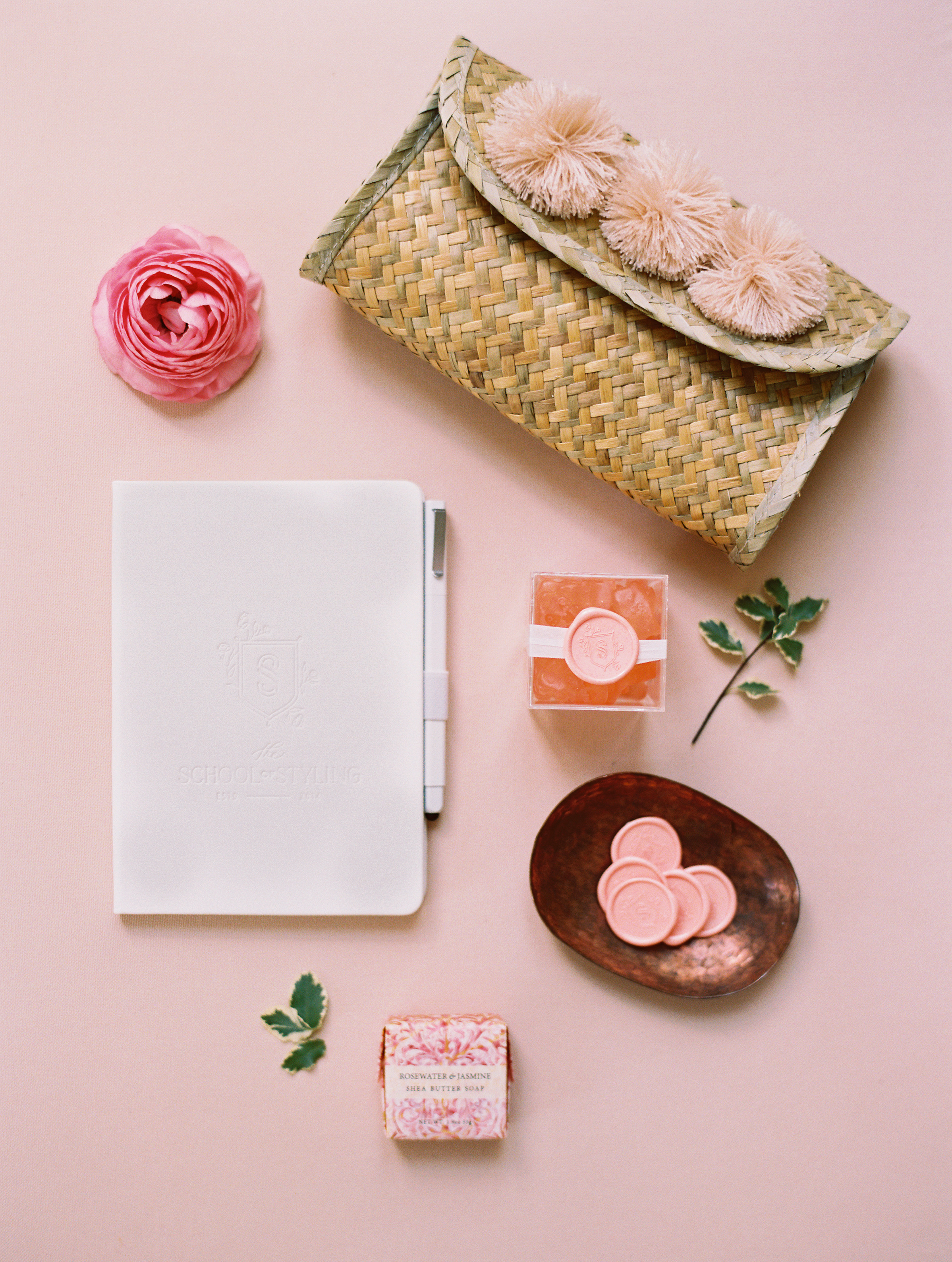 The Xinh Clutch in Blush along with other goodies that the guests received at the Workshop. (resources below)