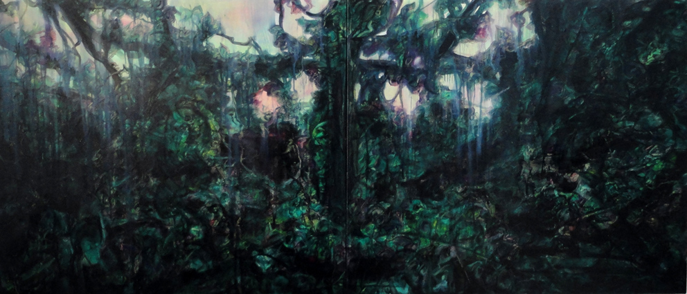 Undergrowth, oil on linen on two stretchers 155 x 65