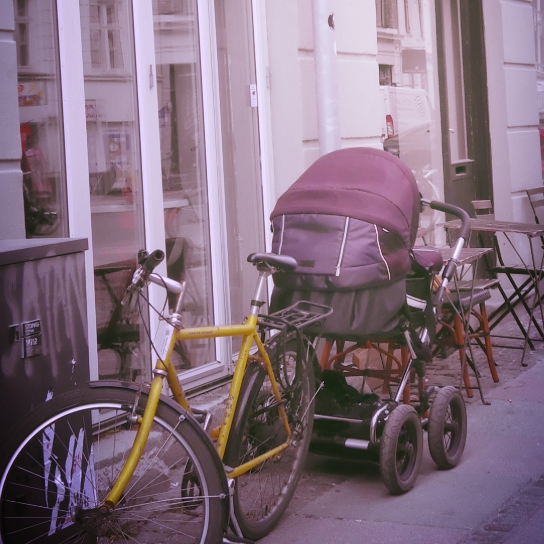Pram outside a cafe in Copenhagen