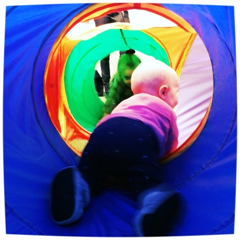 BBB exploring indoor playground in Copenhagen
