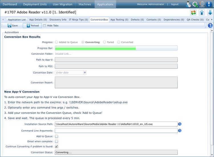 ConversionBox job running in AppTracker