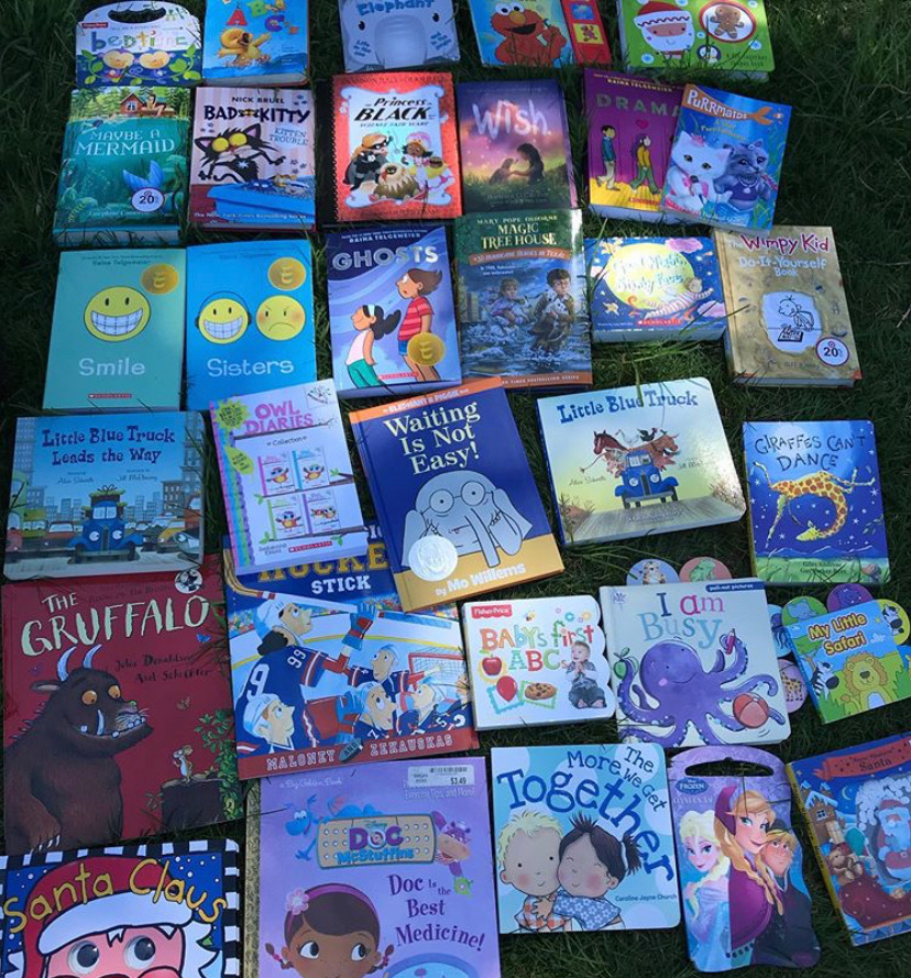Some of the books she's already gathered to donate!