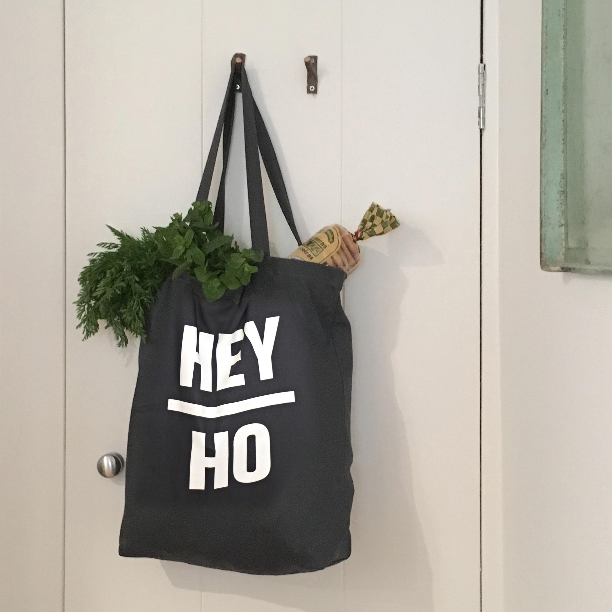 Above and Beyond dark grey Hey Ho Tote bag Canvas lifestyle2.jpg