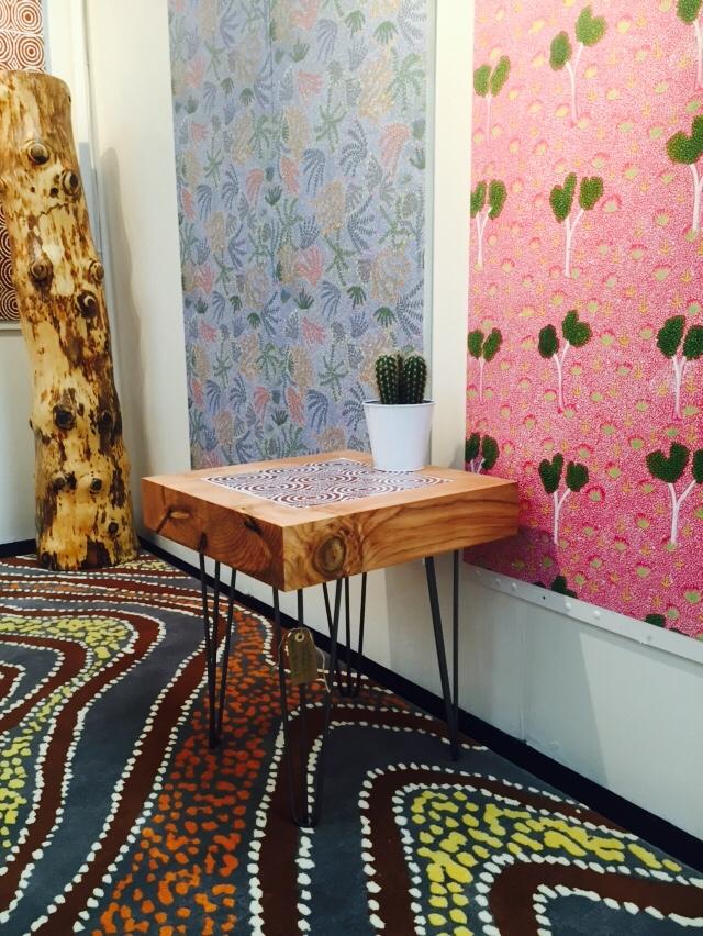 Bay Gallery Home Australian Aboriginal Art Wallpaper, Tile, Rugs. London Design Fair Tent London 2016