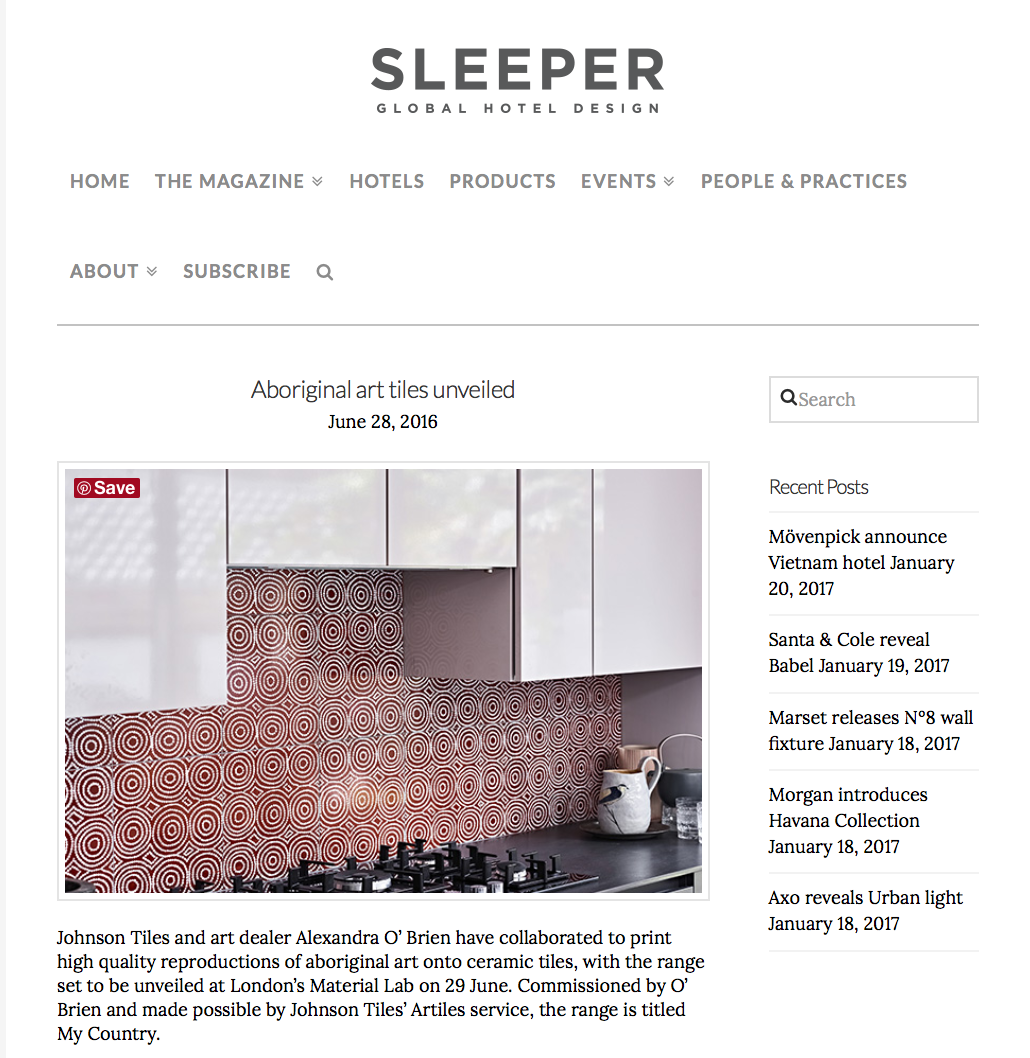 Sleeper reviews the innovative challenges of  My Country  tiles...