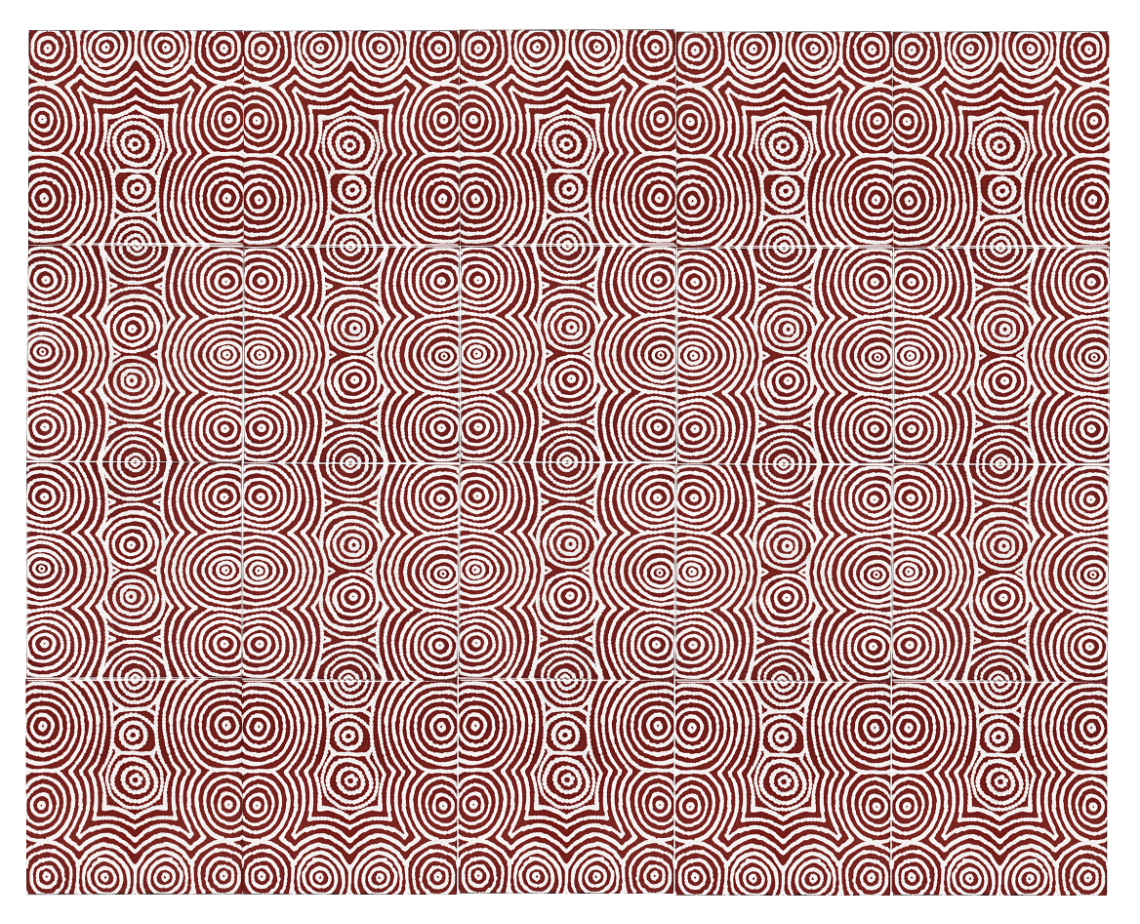 An elegant combination of red ochre & the slight irregularities of hand painted art, reminiscent of  Jali  screens –shown here used  en masse as a feature in bathrooms, kitchen splash backs, fireplaces...