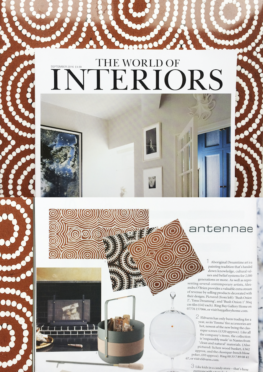 Bay Gallery Home, My Country, Australian Aboriginal Art and Interiors Wallpaper, Tiles & Rugs. World of Interiors