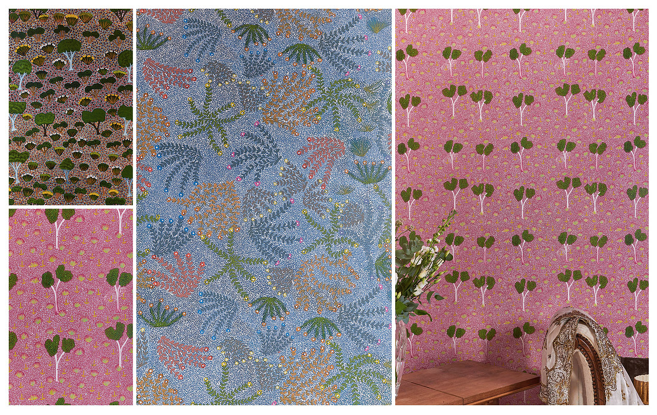 A vibrant collage of our   My Country  wallpapers , translations of authentic Australian Aboriginal artworks, made in the UK.