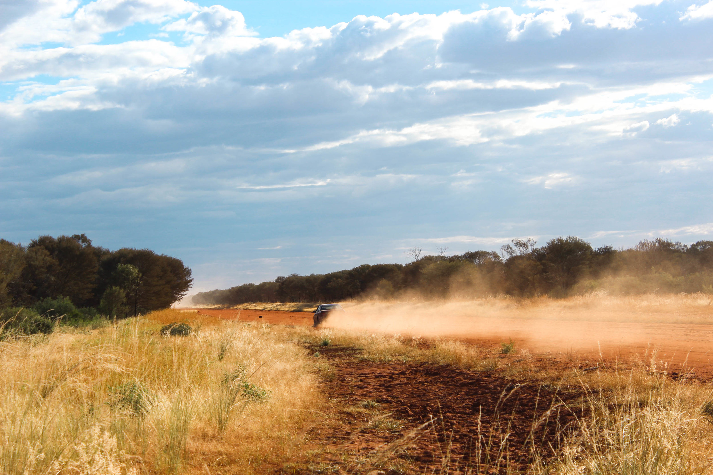 Intrepid Alexandra on her current sourcing trip, criss-crossing the Australian Central Desert...