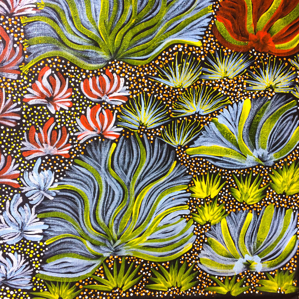 Another detail of local flora from a vibrant painting by Colleen Ngwarraye Morton,'Women's Ceremony and Bush Medicine' –  sold through our ART page & in our Tetbury gallery .