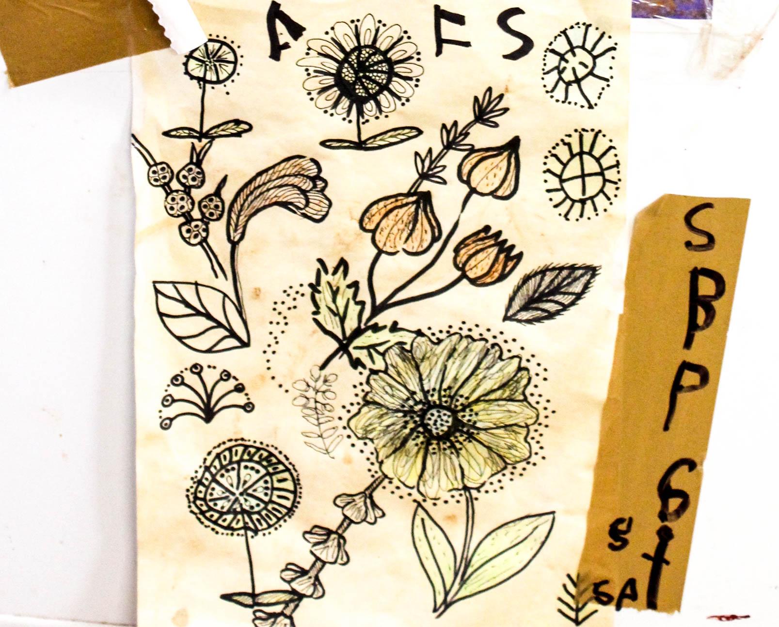 Flower Sketches Art Centre Australian Aboriginal. Bay Gallery Home UK