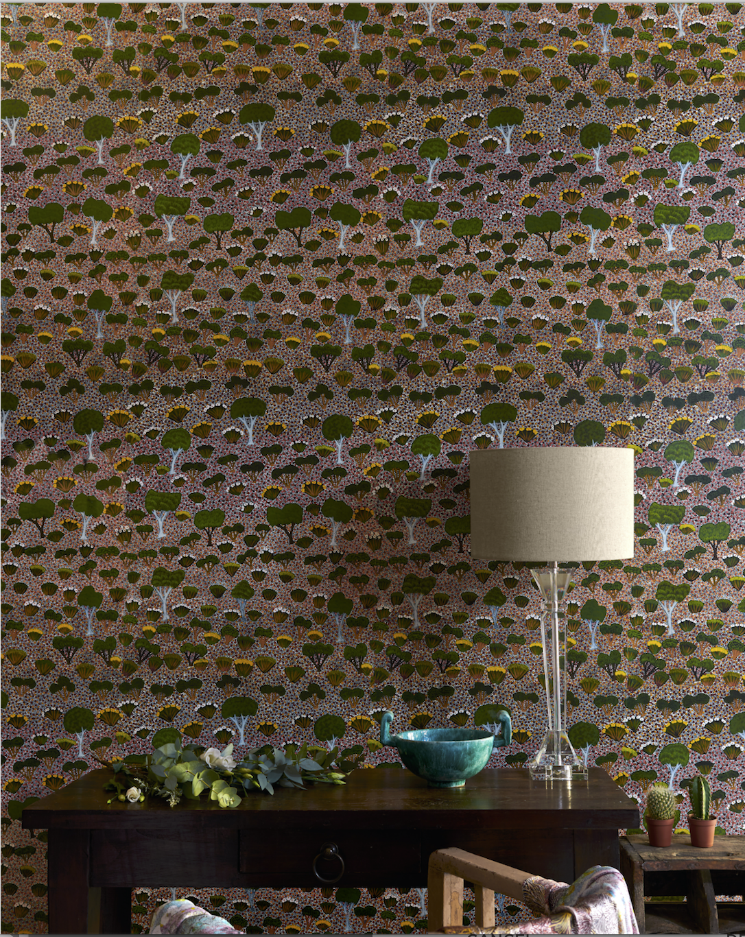 My Country  GREEN wallpaper in its full-scale splendour, bringing Art & a touch of colour into interior space.