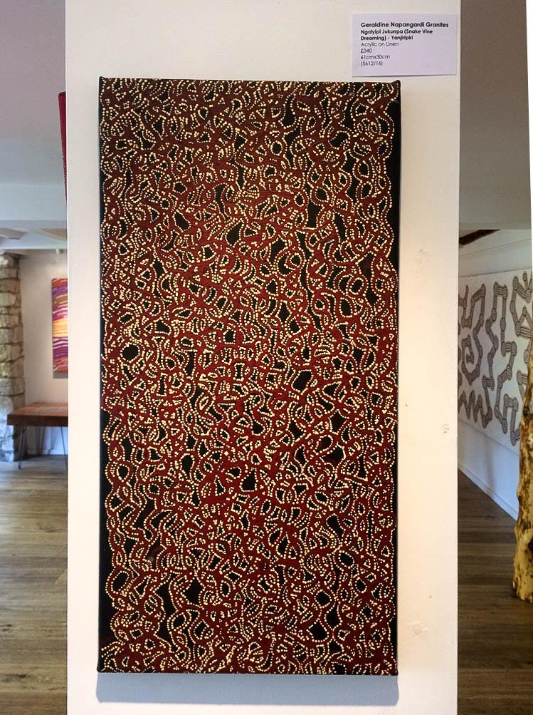 Snake Vine Dreaming, Contemporary Australian Aboriginal Art Dreamtime Black Red. Bay Gallery Home.