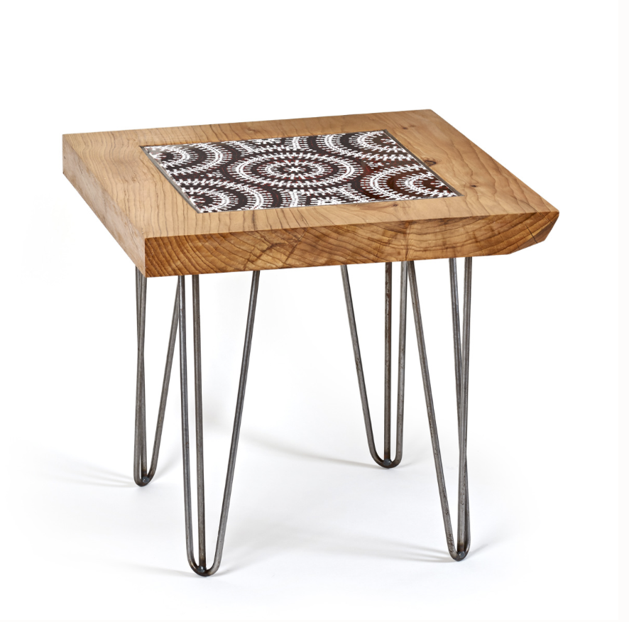 Our  Emu Dreaming ceramic tile  was the inspiration for this  beautiful Cedar of Lebanon coffee table  design by  The Fine Wooden Article Company,  a Gloucestershire-based designer maker workshop that source all their wood sustainably, and wherever possible locally.