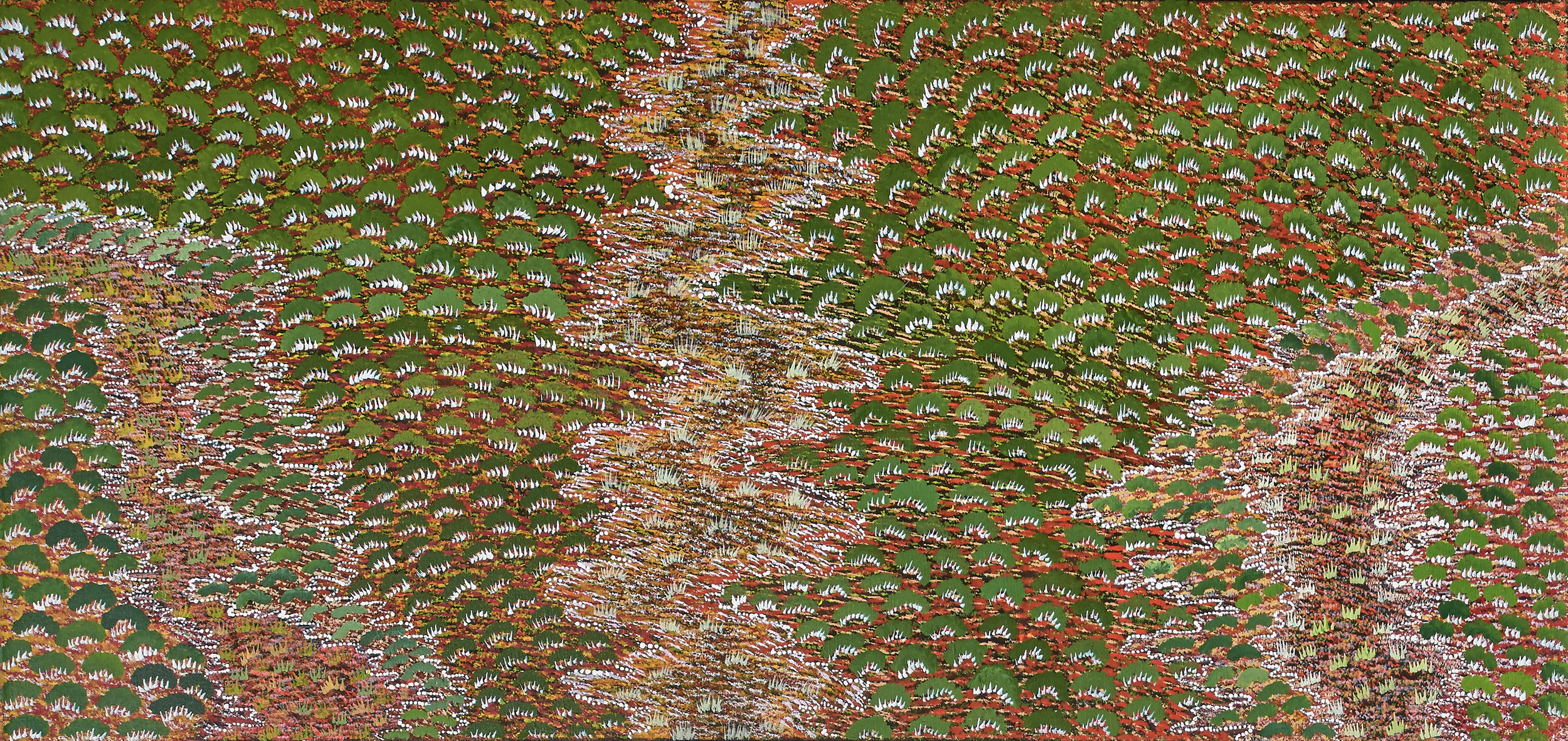 My Grandmother's Country by Denise Ngwarraye Bonney 107x51cm available online or in the gallery.