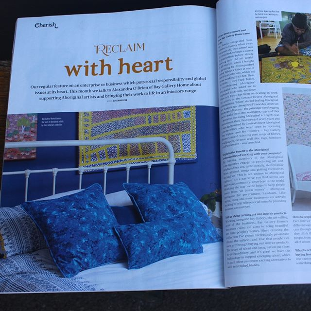 """@reclaimmag has featured Bay Gallery Home in its Cherish section where they feature """"eco-innovators helping us care for our homes, the planet and its people"""". In the hard copy of the magazine you can find the Reclaim with heart interview with Bay Gallery Home founder, Alexandra OBrien on page 102. Thank you Reclaim! We hope you all enjoy the read. #reclaimmagazine #reclaimmagazineuk #mycountry #designwithorigin #botanicalfabric #cottonvelvet #cottonbotanicalfabric #ceramictiles #aboriginalartuk #aboriginalart #granddesignslive #botanicalwallpaper #ecoinnovation #cherish #ethicaltrading #softfurnishing #upholstery #innovativedesign #interiordesignideas #homedecorinspo #maximilism #minimalism"""