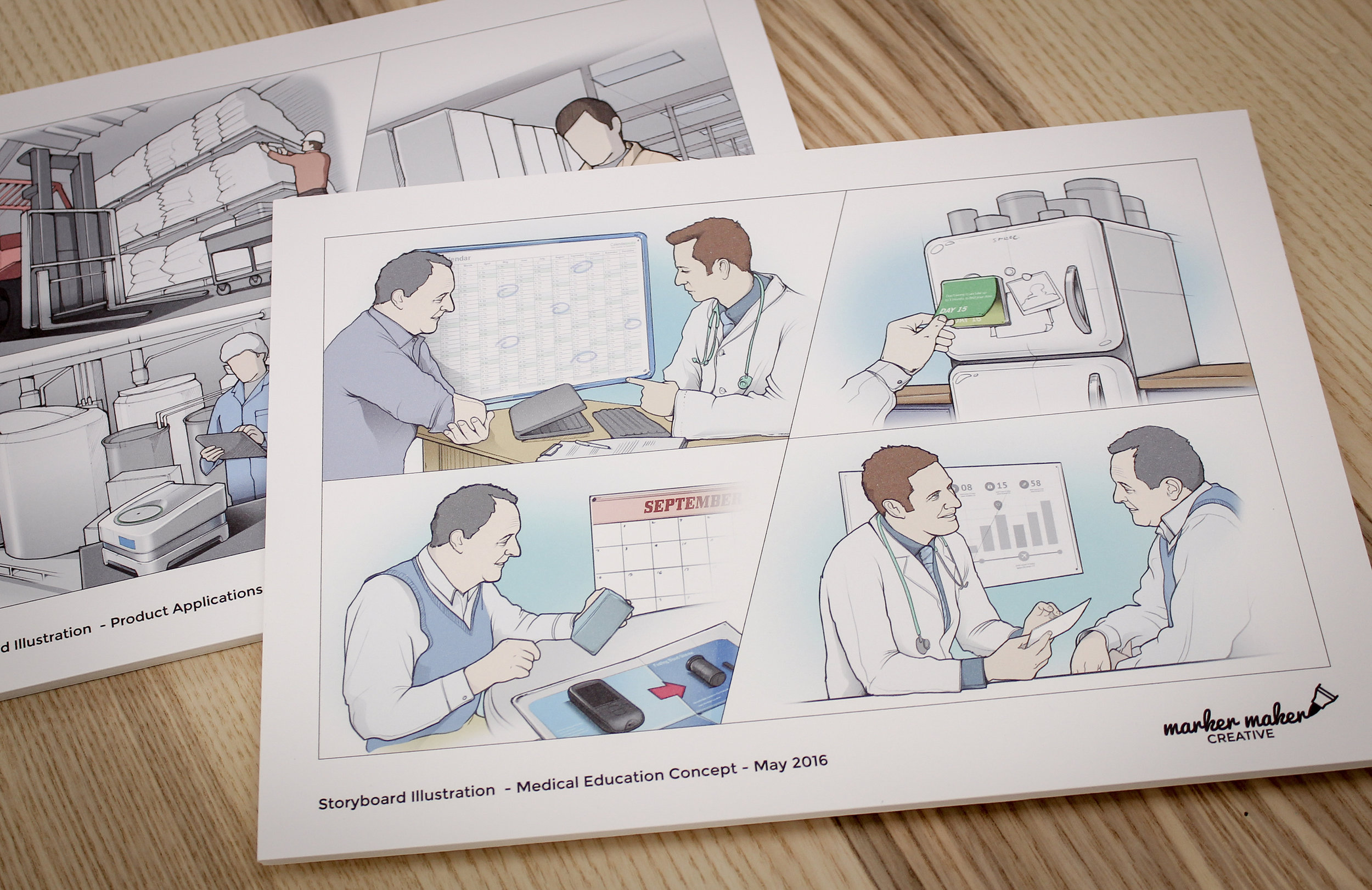 Storyboard illustration examples - used to communicate a product user journey
