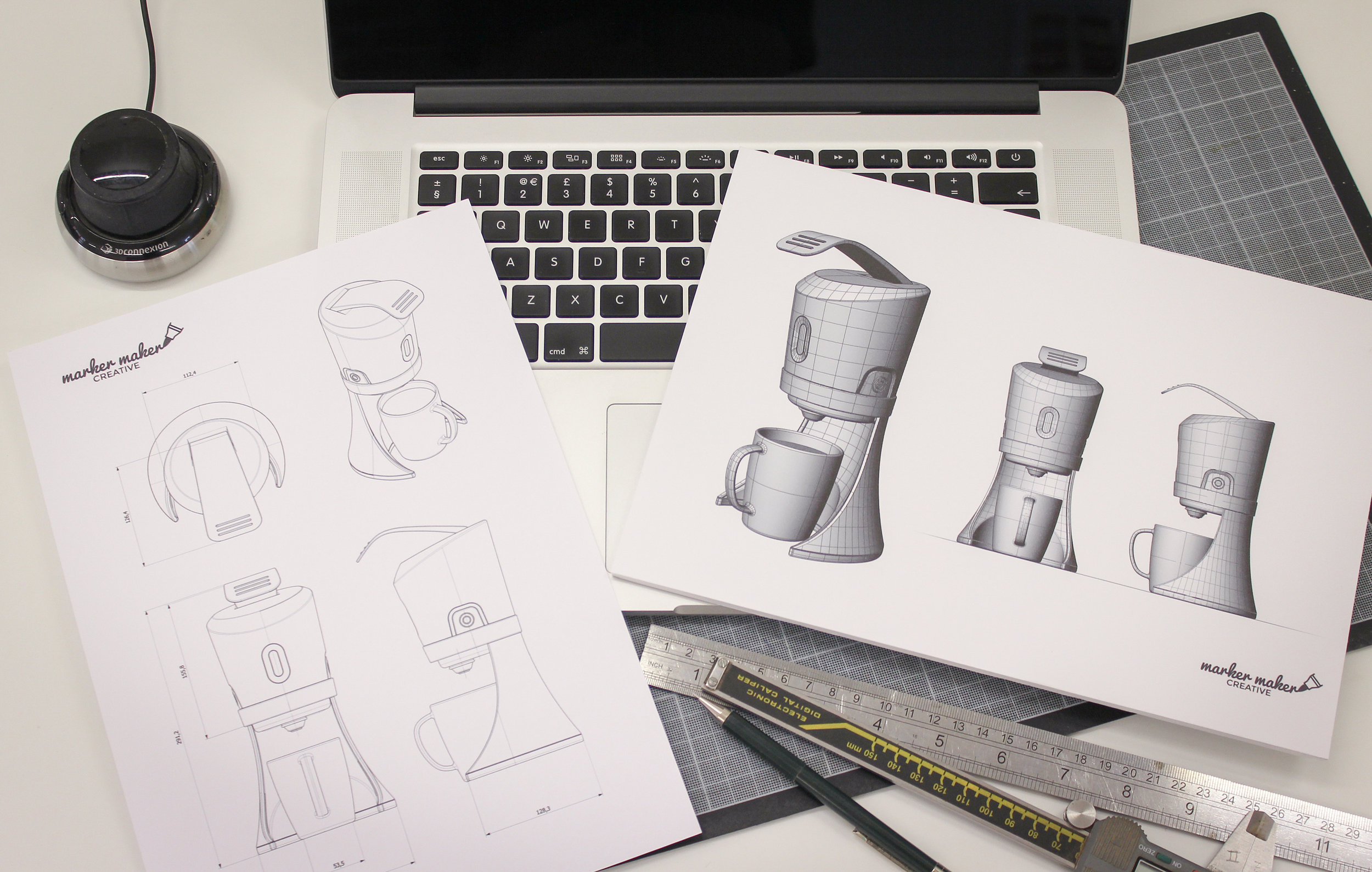 We are able to translate 2D ideas into a 3D realisation, utilising computer aided design software. This technology allows us to easily resolve ideas, build complex assemblies and interrogate form. It is an important tool when developing accurate idea representations, where scale and proportion impact the success of a concept.