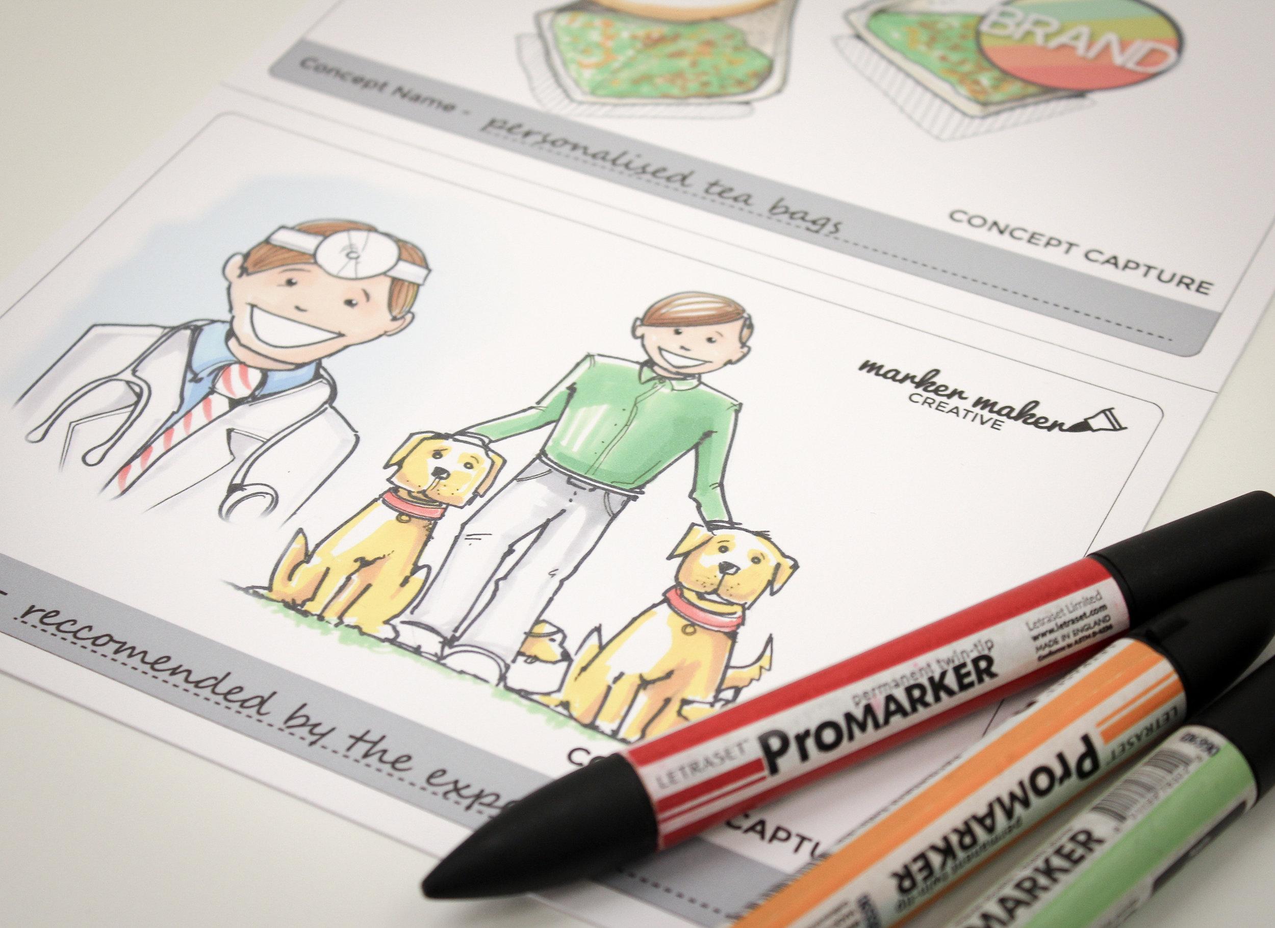 Marker pen concept visuals - post workshop capture