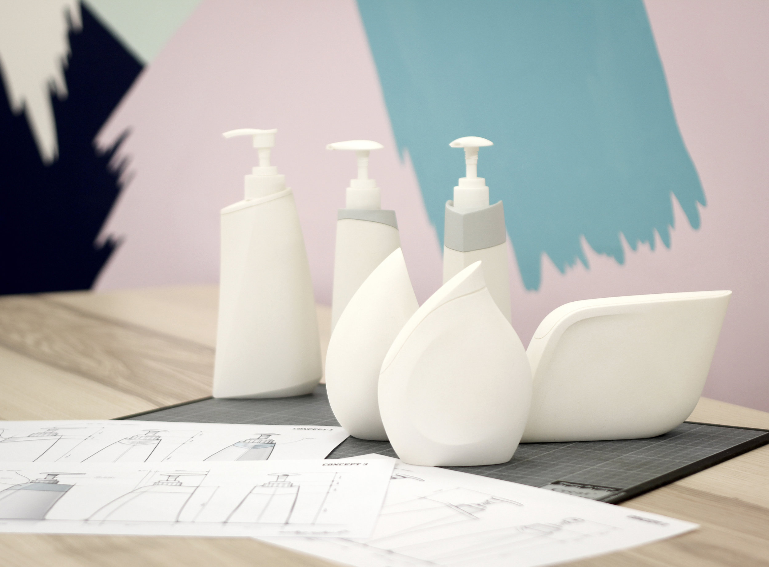 examples of handmade foam models, using agile model making process - 2D to 3D - FMCG packaging concepts