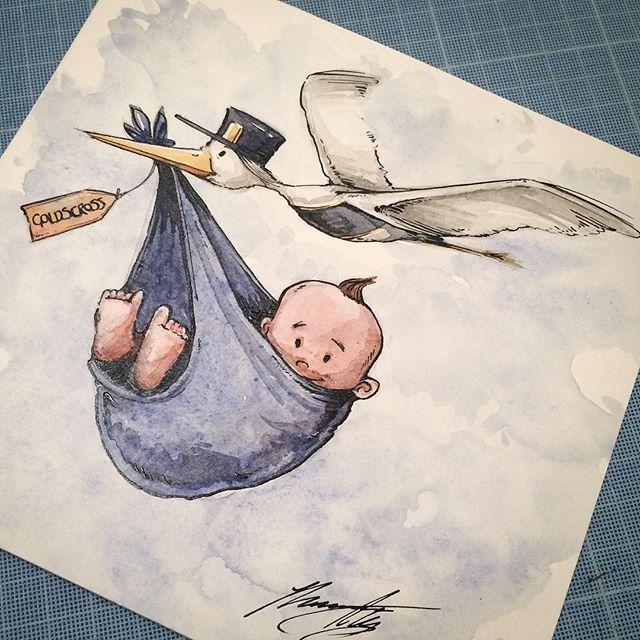 The arrival of a friends new baby is a nice chance to get creative and illutrate a congratulations card.  #illustration #drawing #creative #sketchbook #characterdesign #watercolour #ink #illustrations #newbaby  #congratulations