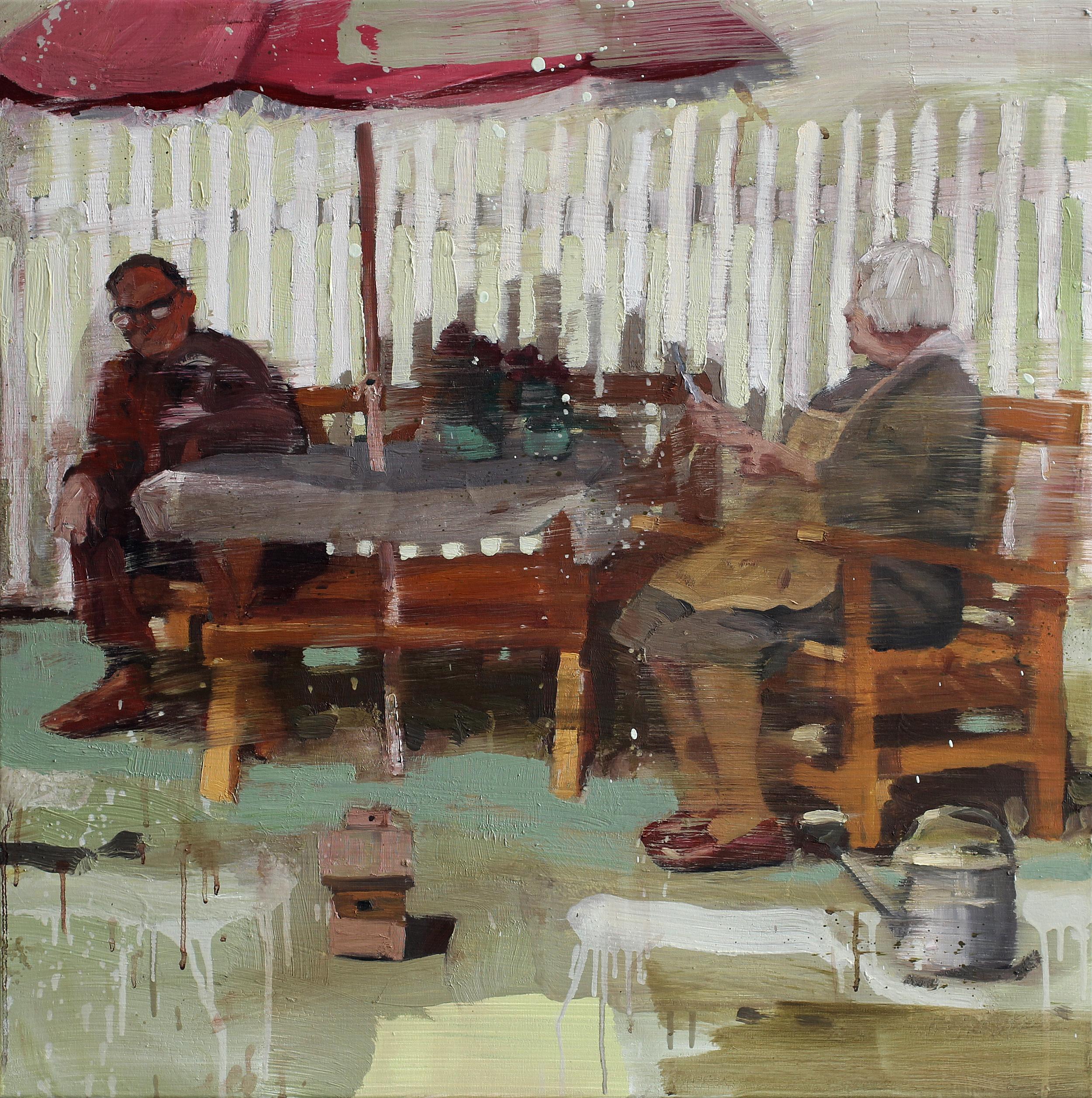 Anne og Lallen | 80x80 cm | Eggolje på lerret | Privat eie