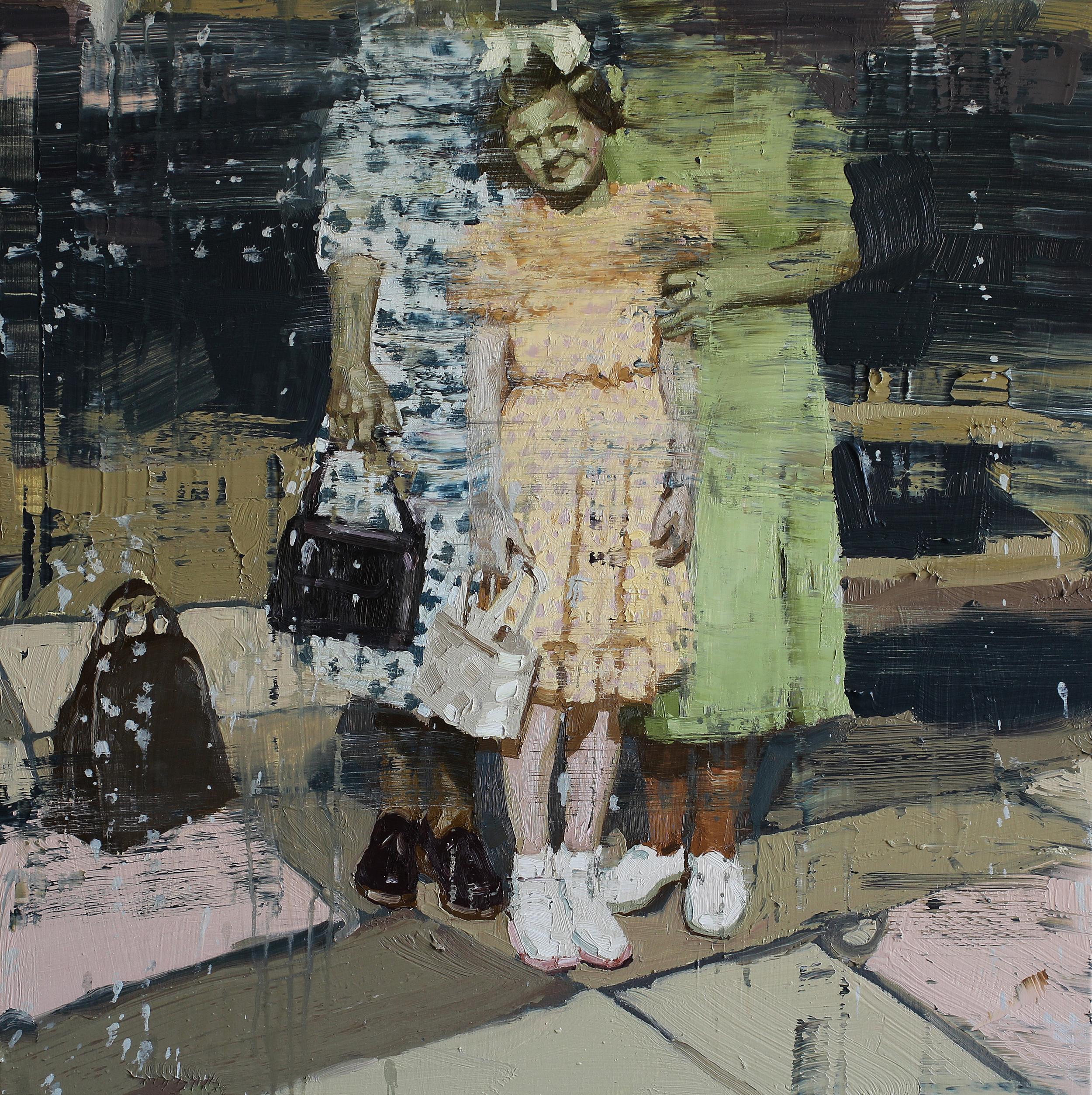 Aud's første håndveske | 80x80 cm | Eggolje på lerret | Privat eie