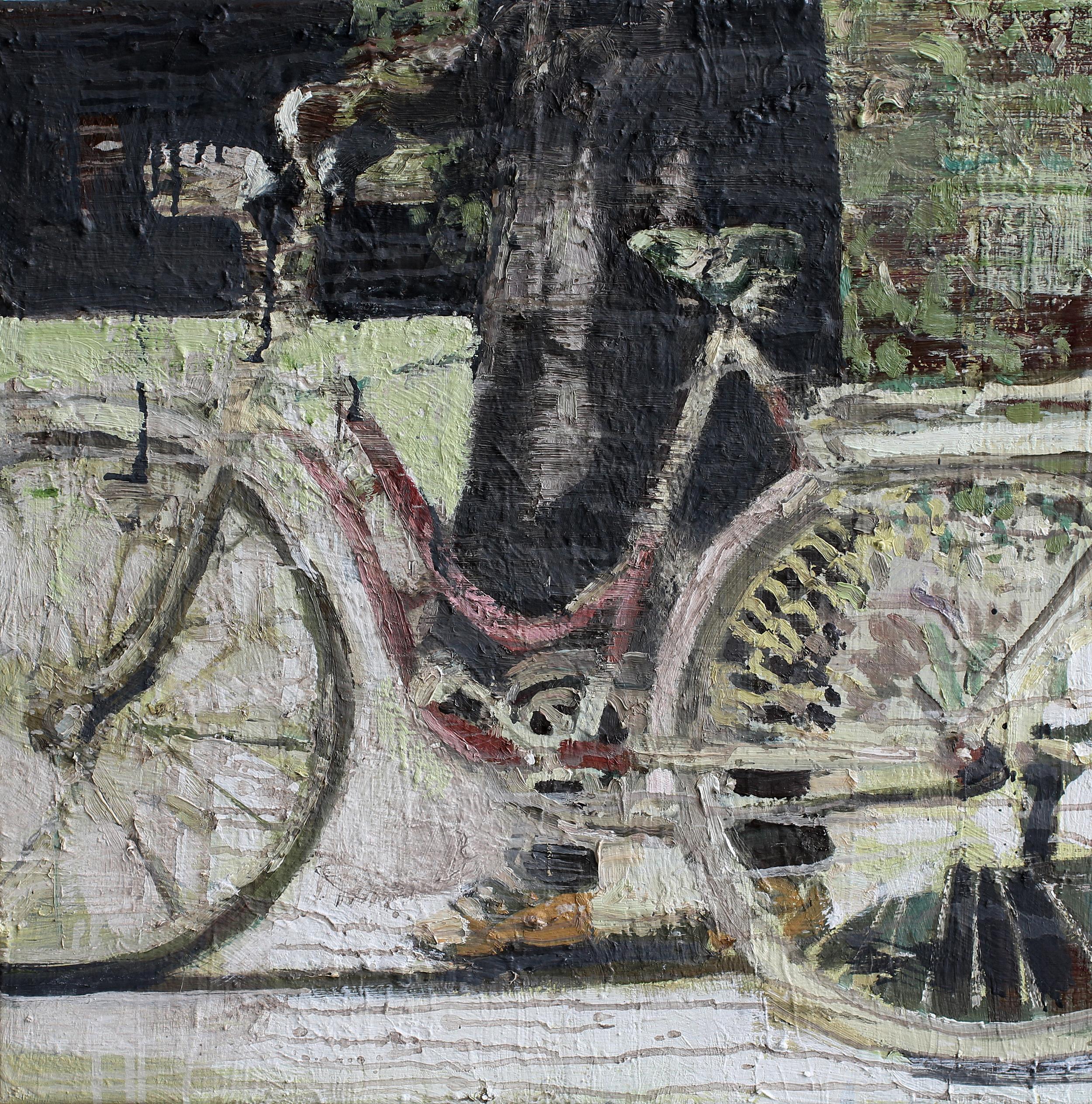 Endelig ny sykkel | 60x60 cm | Eggolje på lerret | Privat eie