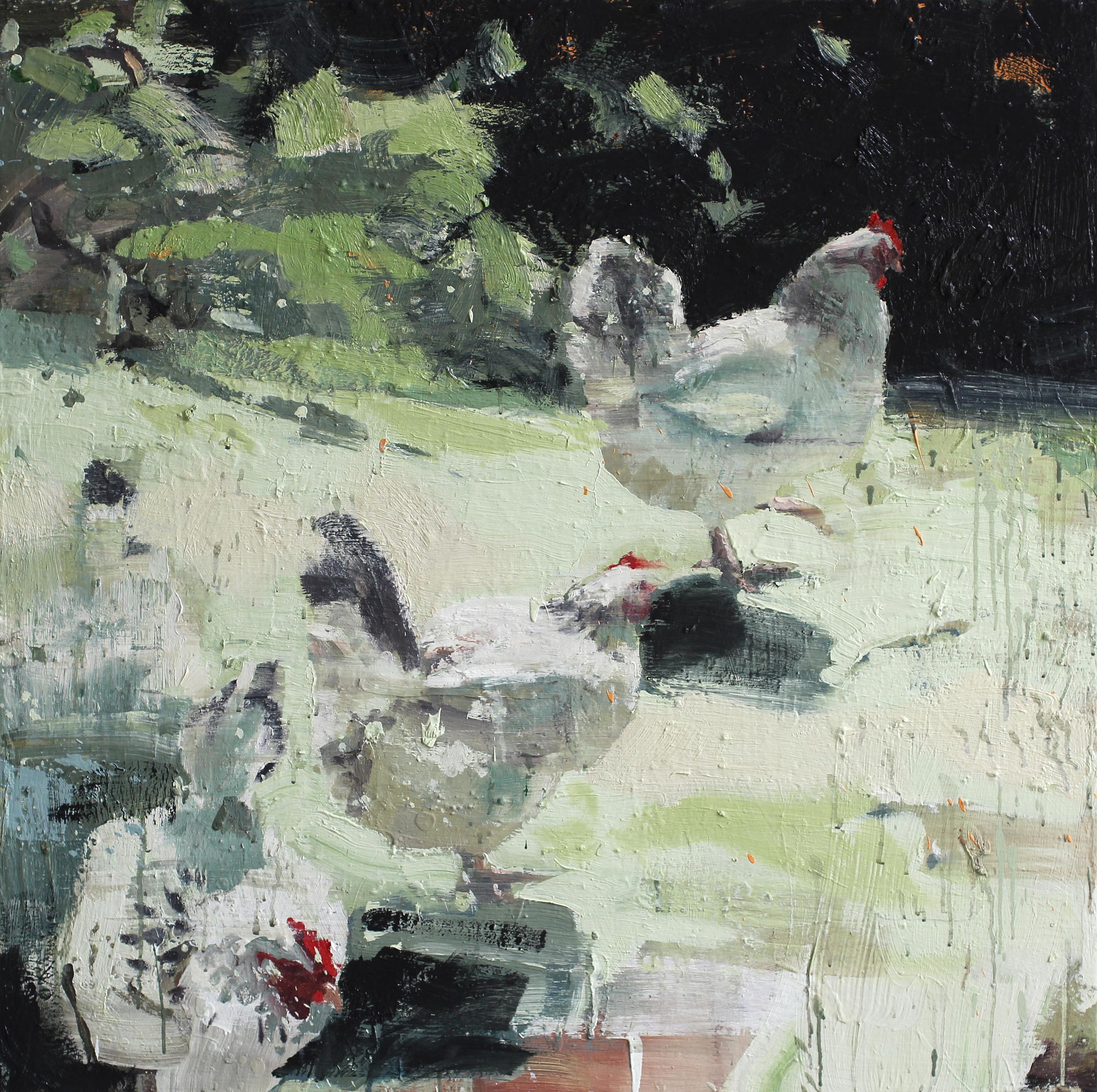 Lederhøne | 100x100 cm | Eggolje på lerret | Privat eie