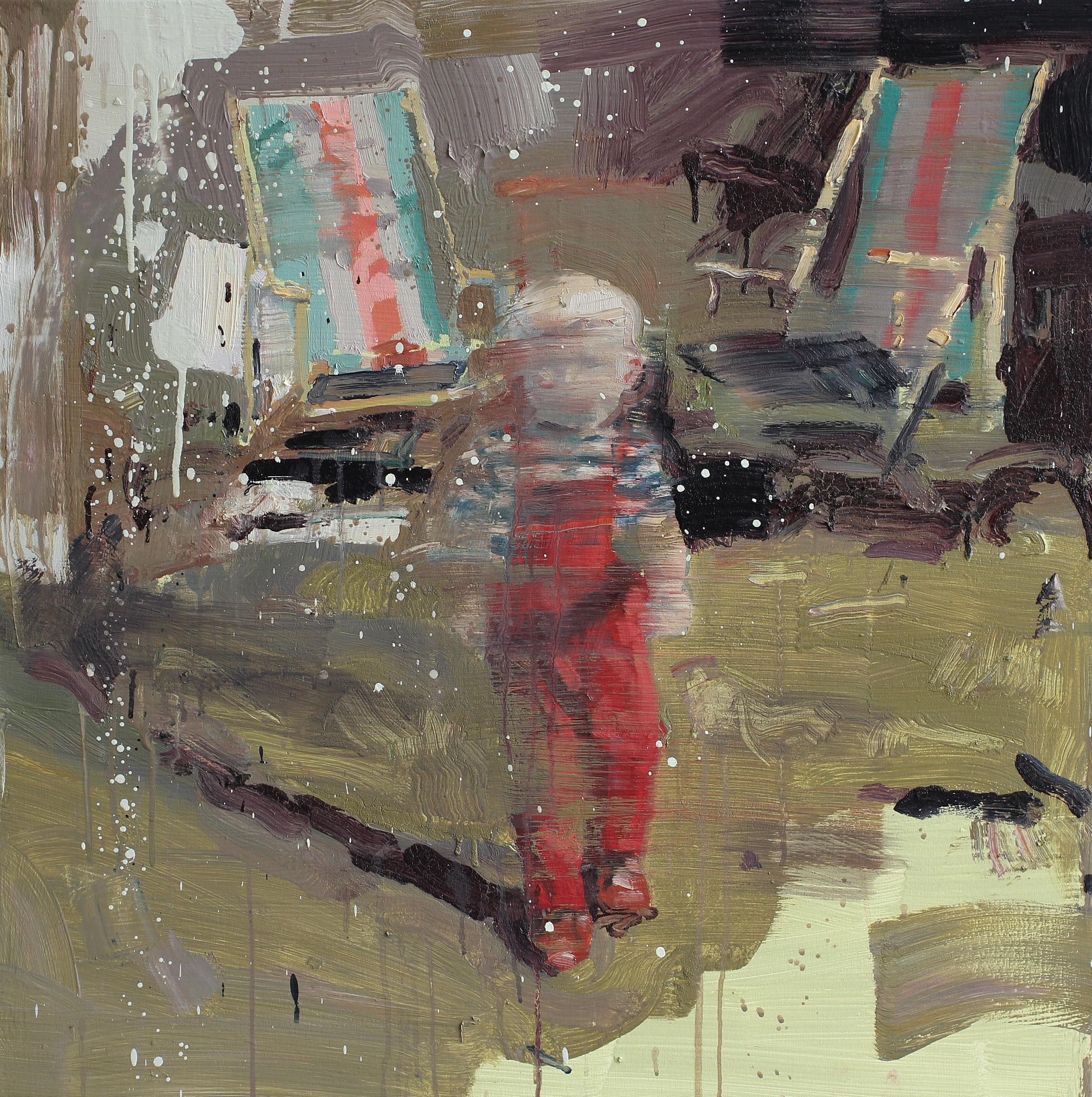Selvportrett i rød snekkerbukse | 80x80 cm | Eggolje på lerret | Privat eie